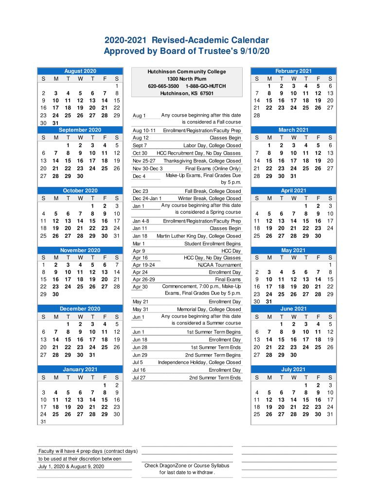 Hcc Academic Calendar 2021 Faculty Handbook